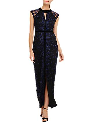 Phase Eight Elly Floral Lace Overlay Dress, Midnight