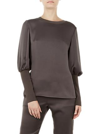 Ted Baker Tiliey Ruched Sleeve Top, Charcoal