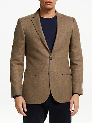 John Lewis & Partners Wool Cotton Check Blazer, Sand/Blue