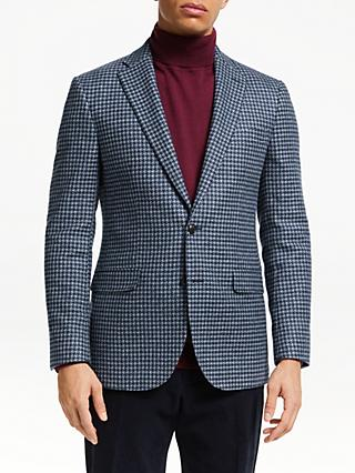John Lewis & Partners Wool Cotton Houndstooth Blazer, Blue/Grey