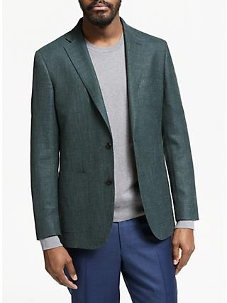 John Lewis & Partners Wool Silk Linen Tailored Blazer, Green