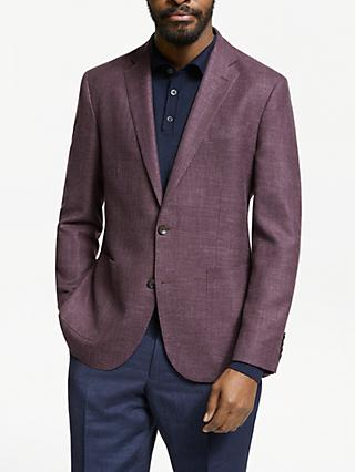 John Lewis & Partners Zegna Wool Silk Linen Tailored Blazer, Raspberry
