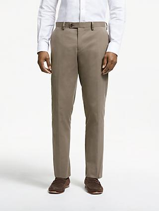 John Lewis & Partners Zegna Cotton Cashmere Tailored Suit Trousers, Mushroom