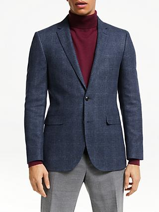John Lewis & Partners Wool Cotton Check Blazer, Blue
