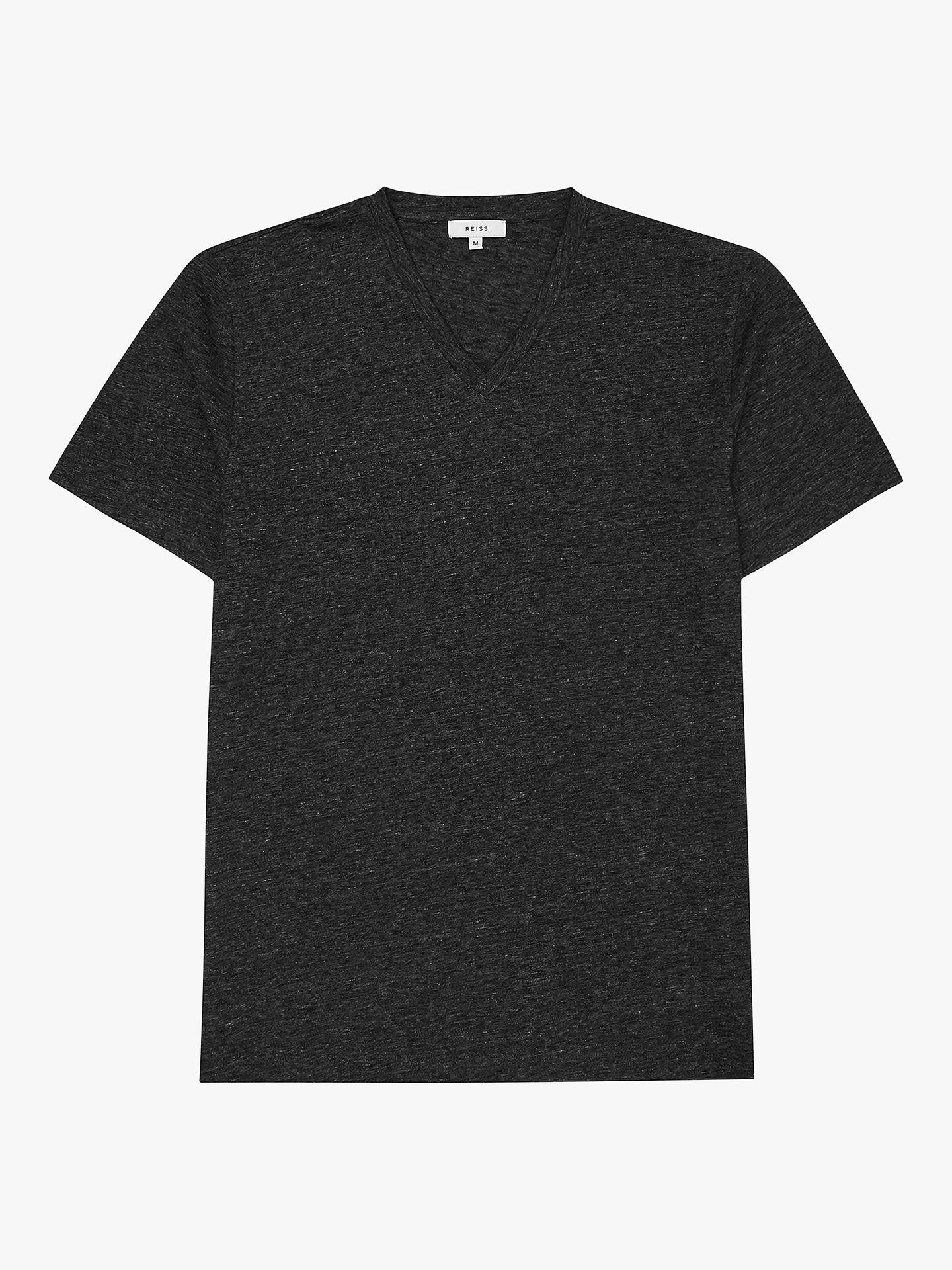 BuyReiss Gondola Melange V-Neck T-Shirt, Charcoal, S Online at johnlewis.com