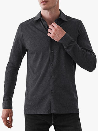 Buy Reiss Verse Mercerised Cotton Slim Fit Shirt, Charcoal, S Online at johnlewis.com