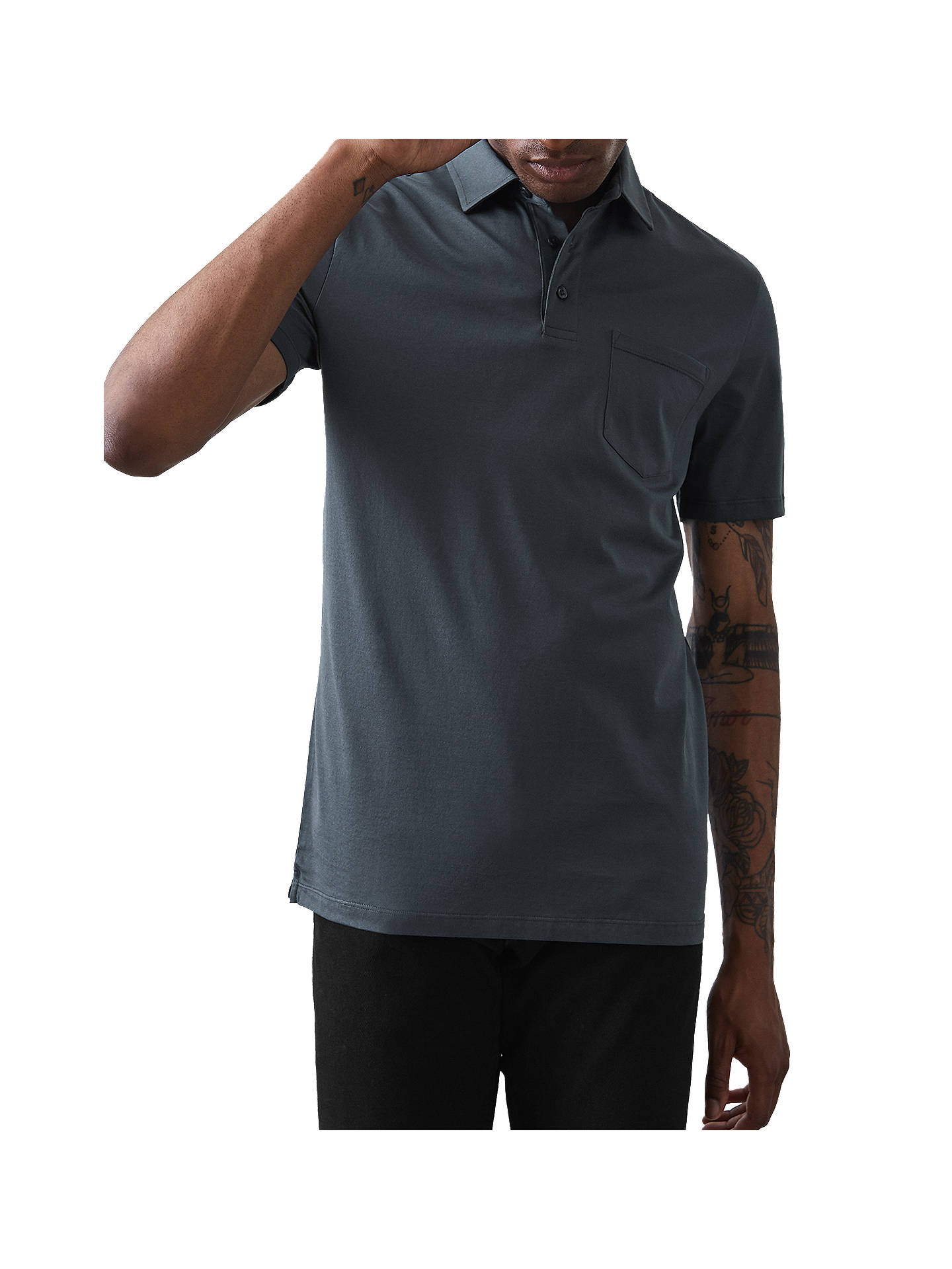Buy Reiss Elliot Mercerised Cotton Polo Shirt, Airforce Blue, S Online at johnlewis.com