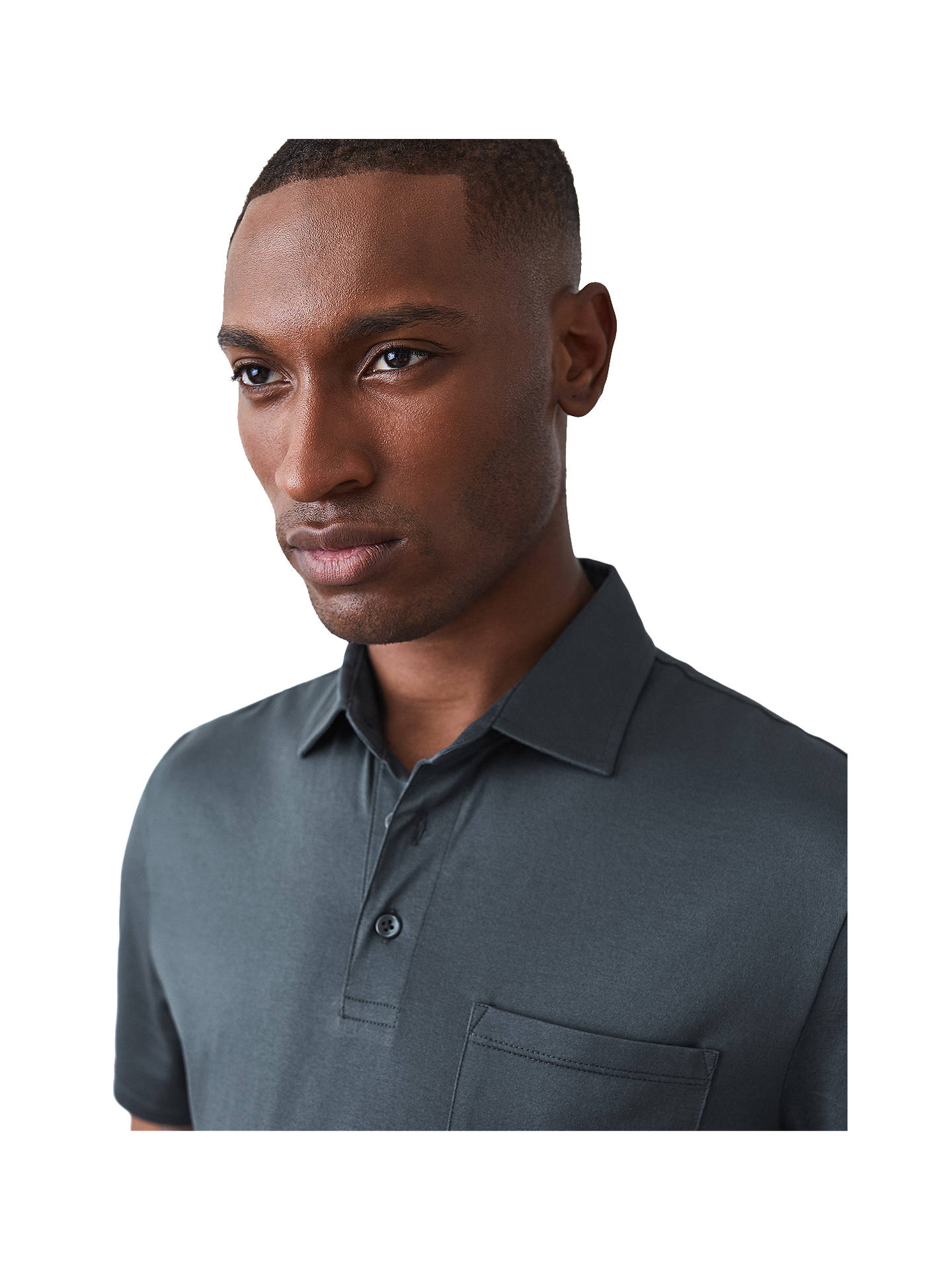 Buy Reiss Elliot Mercerised Cotton Polo Shirt, Airforce Blue, XL Online at johnlewis.com