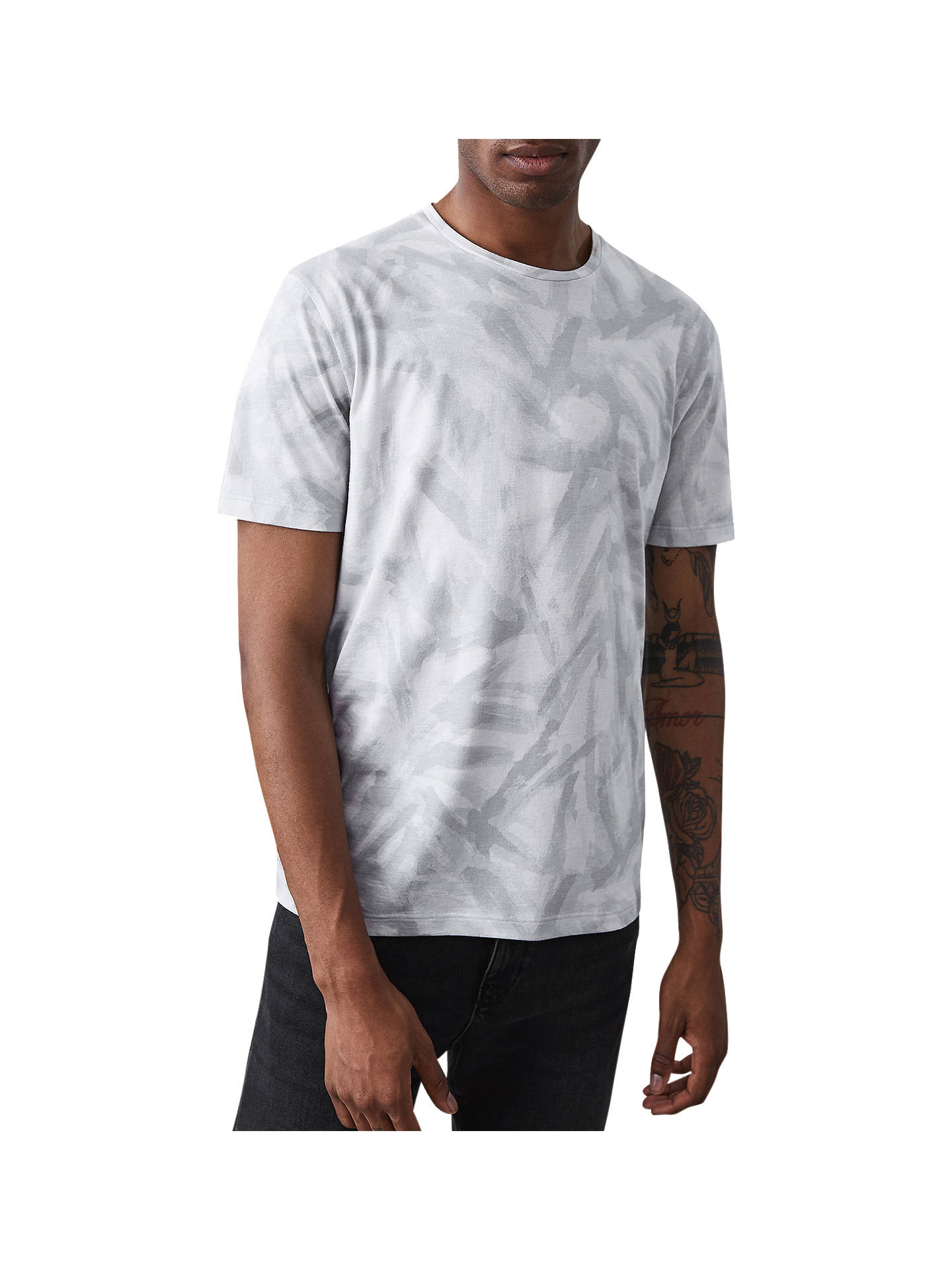 Buy Reiss Bruno Printed T-Shirt, Taupe, S Online at johnlewis.com