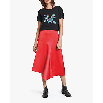hush Clarissa Satin Skirt, Red Ruby
