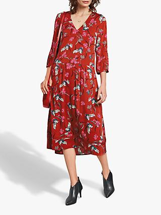 hush Liv Midi Dress, Red Multi