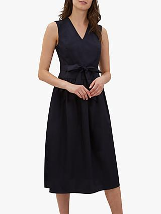Jaeger Fit And Flare Tie Waist Dress, Navy Blue