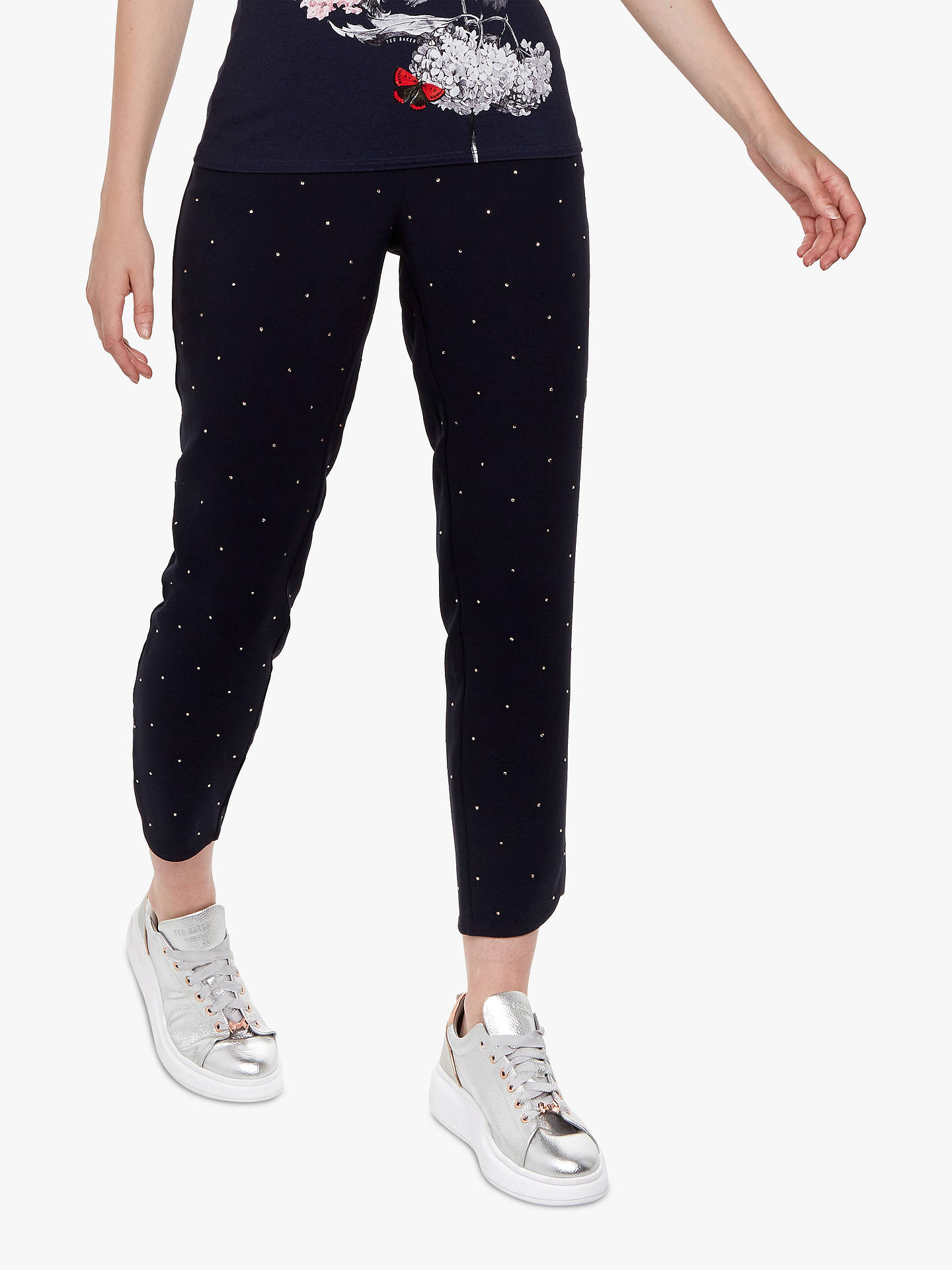 Buy Ted Baker Bobbii Embroidered Joggers, Navy, L Online at johnlewis.com