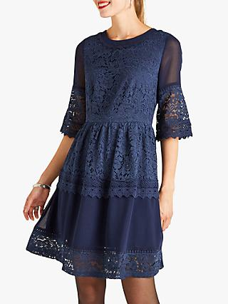 Yumi Georgette Lace Dress, Navy