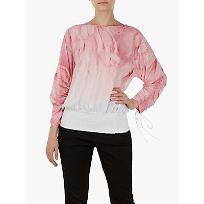 Ted Baker Avvi Angel Falls Sheared Sleeve Top, Light Pink