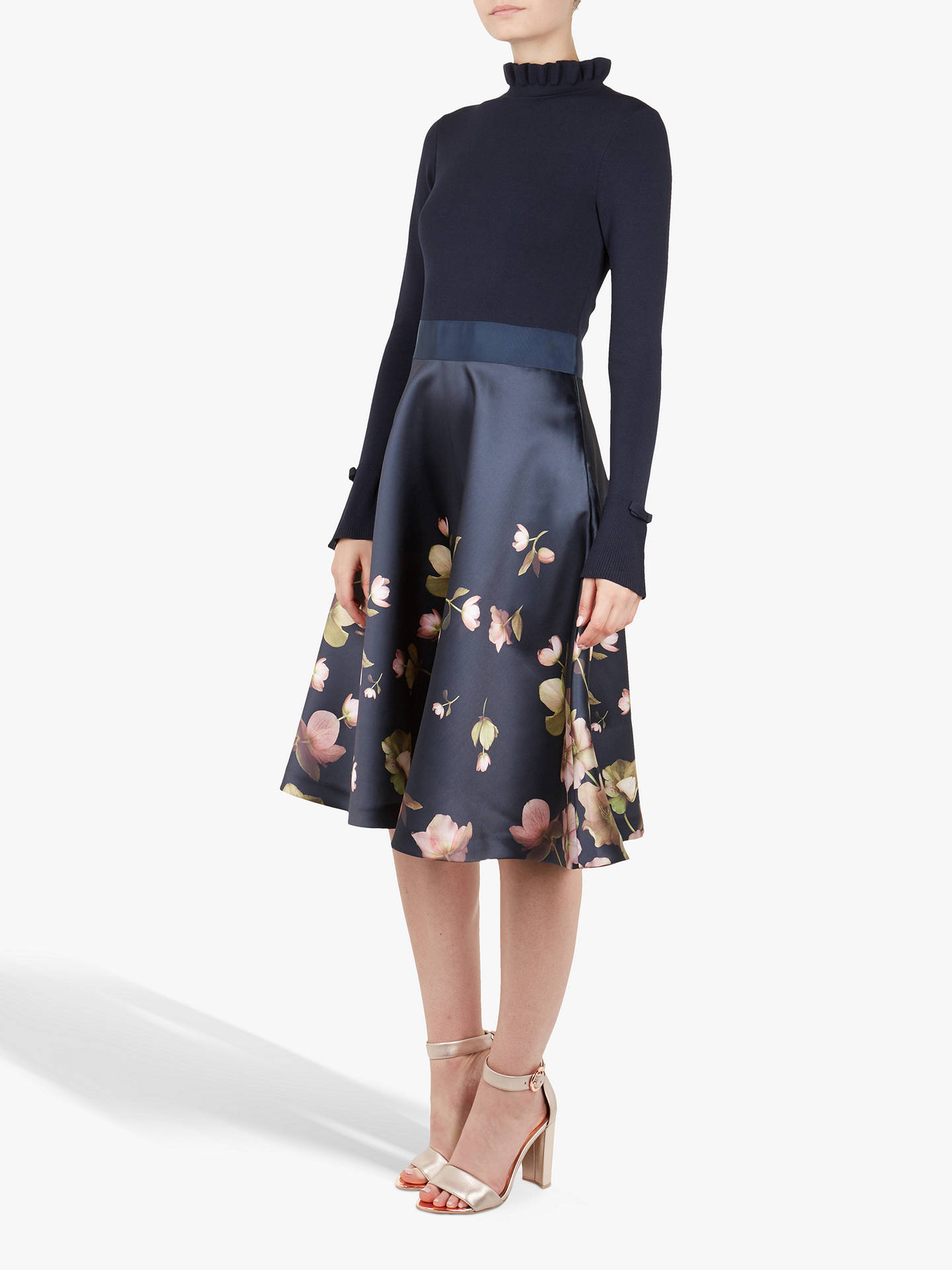 Buy Ted Baker Seema Frill Neck Floral Print Dress, Navy, 4 Online at johnlewis.com