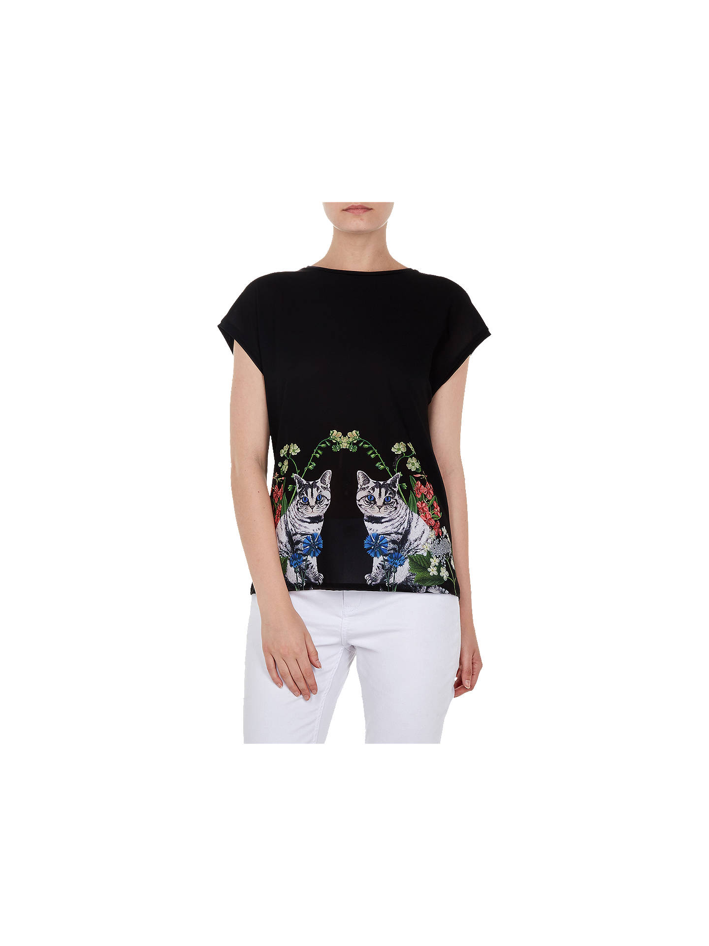 BuyTed Baker Bleue Florence Woven Front T-Shirt, Black, 2 Online at johnlewis.com