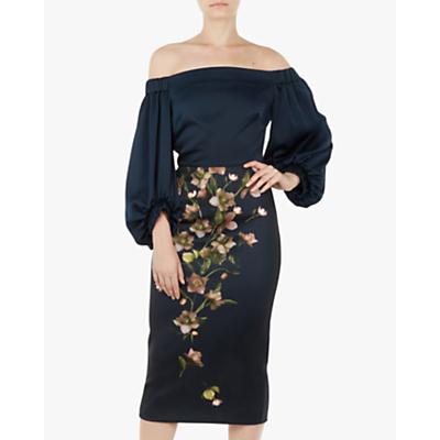 Ted Baker Beaa Soft Blossom Bardot Balloon Sleeve Dress, Blue/Navy