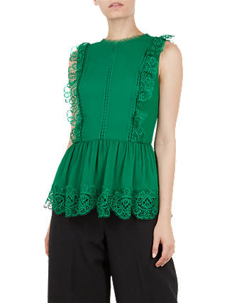 Buy Ted Baker Omarri Mixed Lace Peplum Sleeve Top, Green, L Online at johnlewis.com