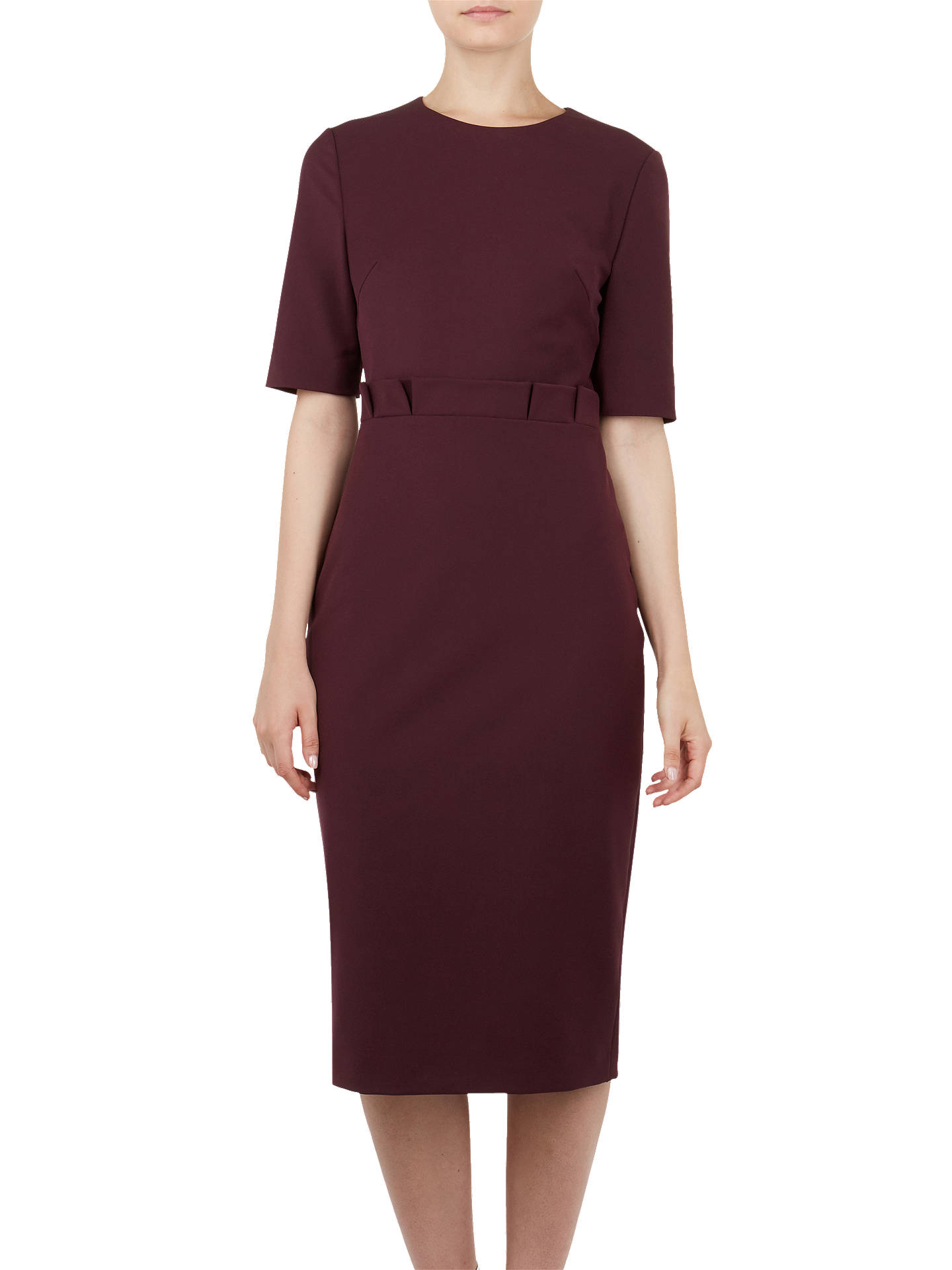 Buy Ted Baker Maggidd Ruffle Waist Pencil Dress, Purple, 2 Online at johnlewis.com