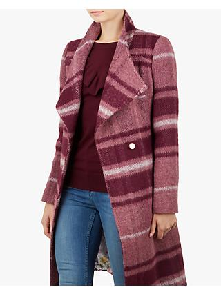 Ted Baker Skaalet Check Double Breasted Coat, Maroon/Multi