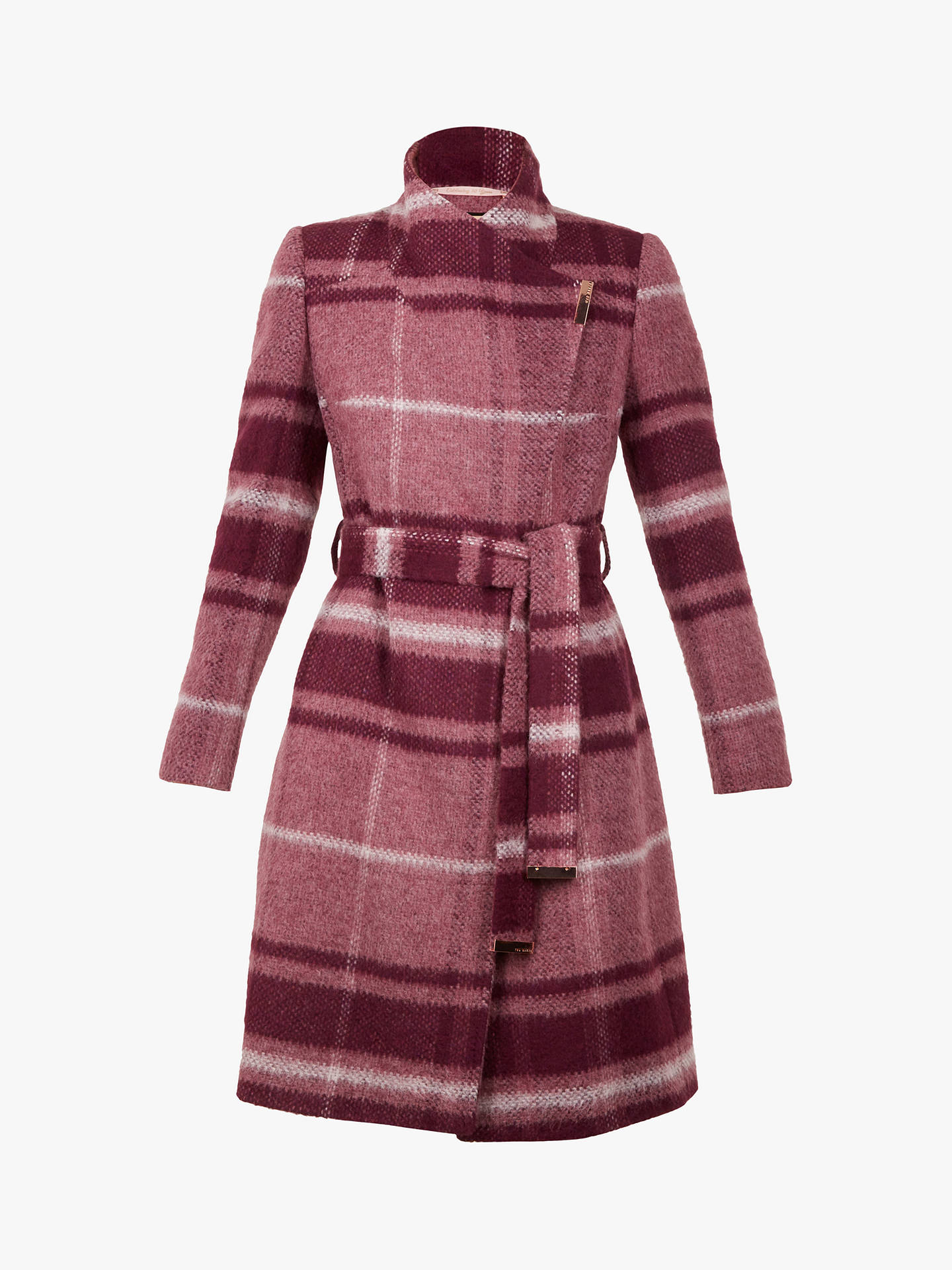 Buy Ted Baker Skaalet Check Double Breasted Coat, Maroon/Multi, 1 Online at johnlewis.com