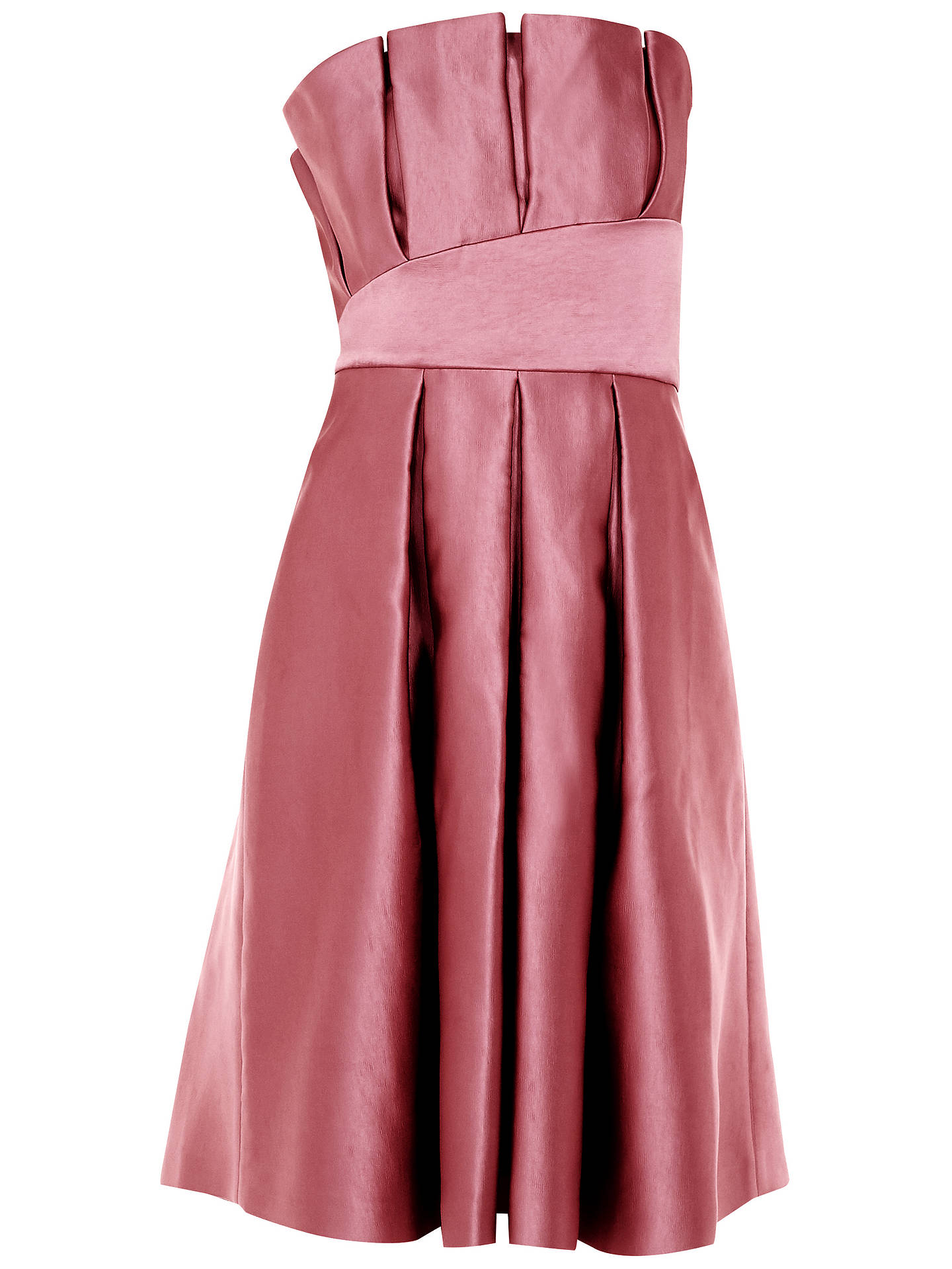 Buy Ted Baker Pippaa Pleated Strapless Dress, Pink Coral, 0 Online at johnlewis.com