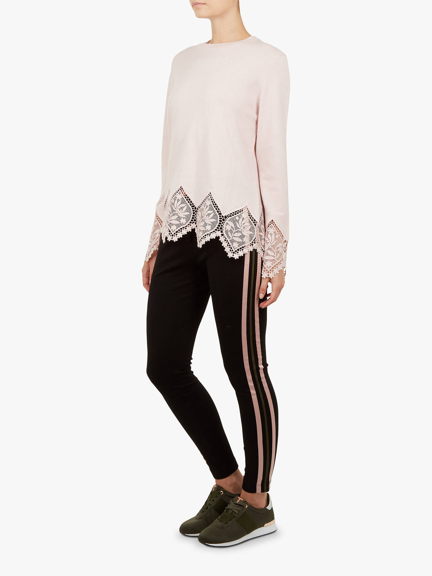 BuyTed Baker Aylex Lace Detail Jumper, Pink/Nude, 5 Online at johnlewis.com