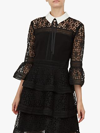 Ted Baker Starh Star Lace Ruffle Dress, Black