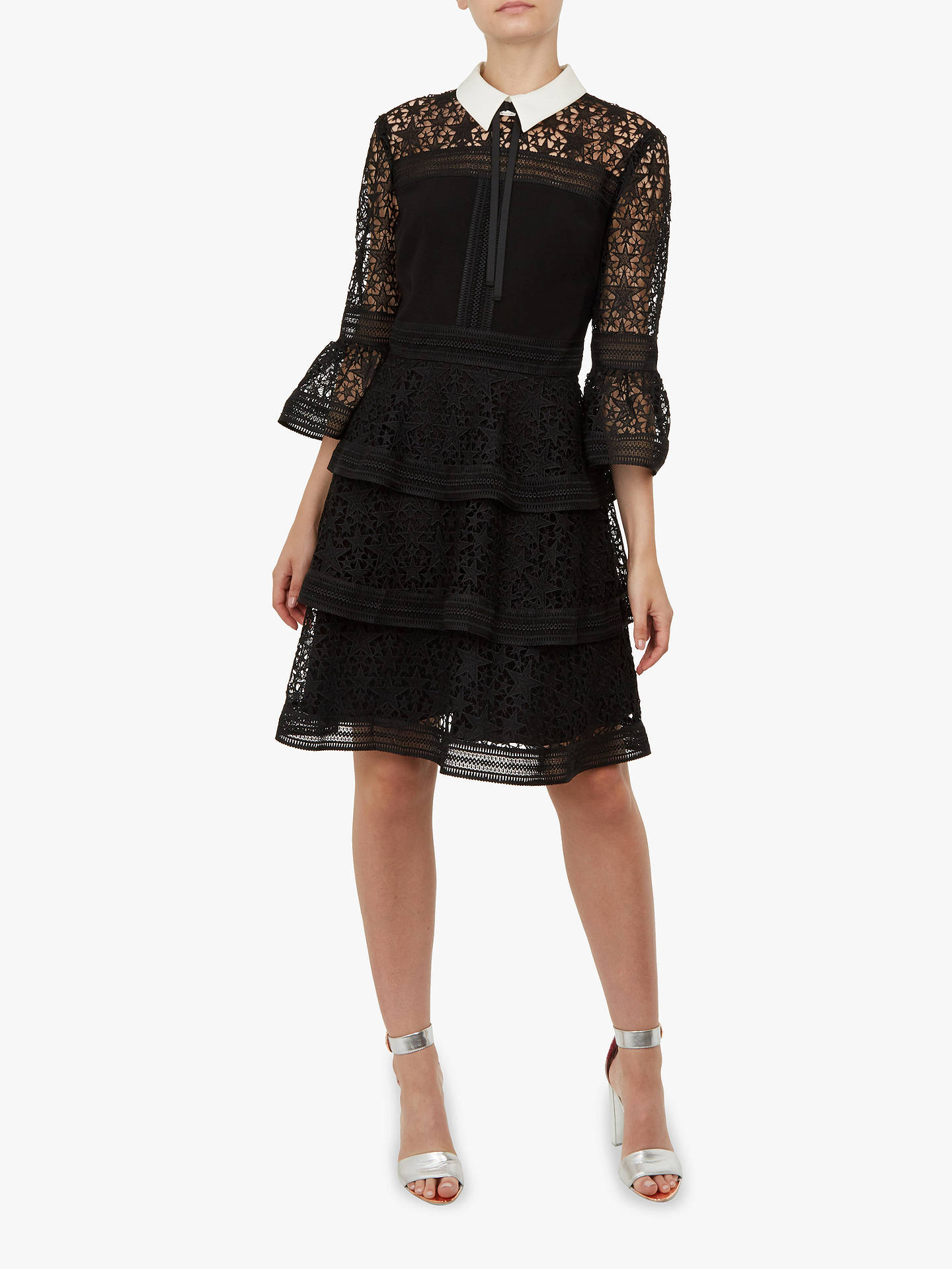 Buy Ted Baker Starh Star Lace Ruffle Dress, Black, L Online at johnlewis.com