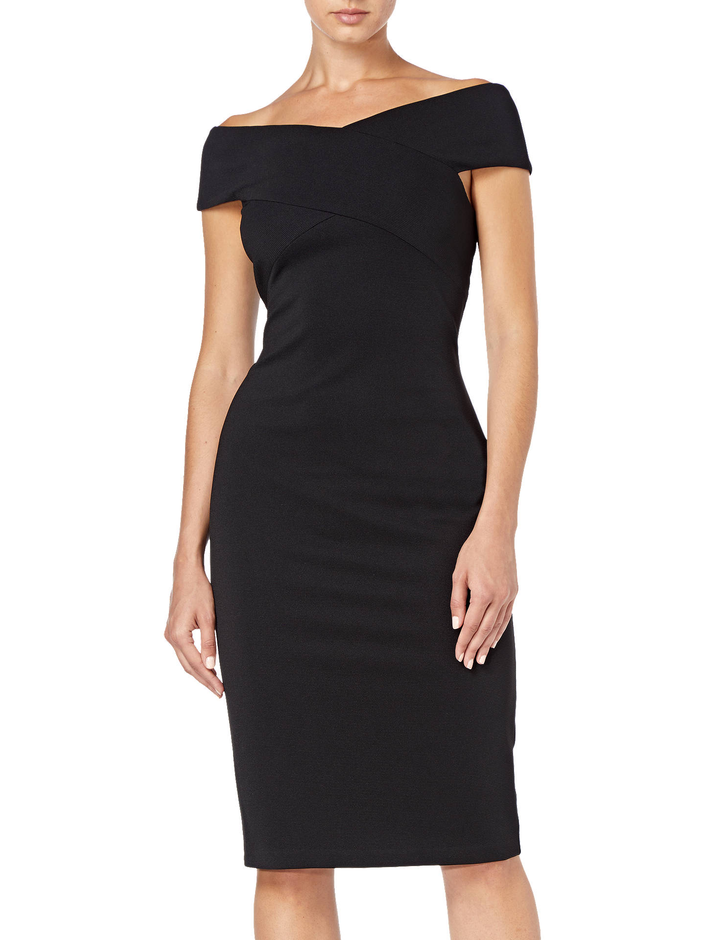 Buy Adrianna Papell Plus Size Daphne Ottoman Sheath Dress, Black, 20 Online at johnlewis.com