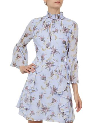 Ted Baker Vedia Blue Moon Print Ruffle Neck Dress, Light Blue