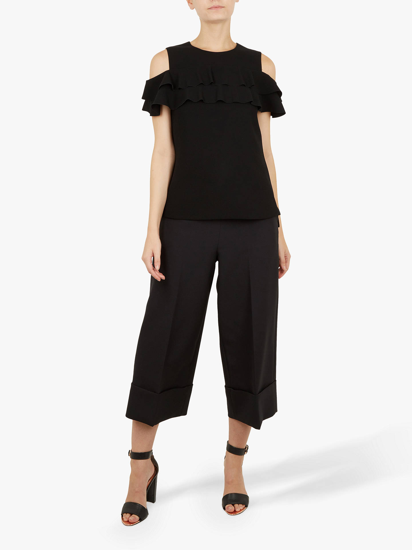 Buy Ted Baker Hopee Frill Top, Black, XS Online at johnlewis.com