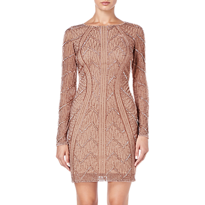 Adrianna Papell Beaded Short Dress, Rose Gold