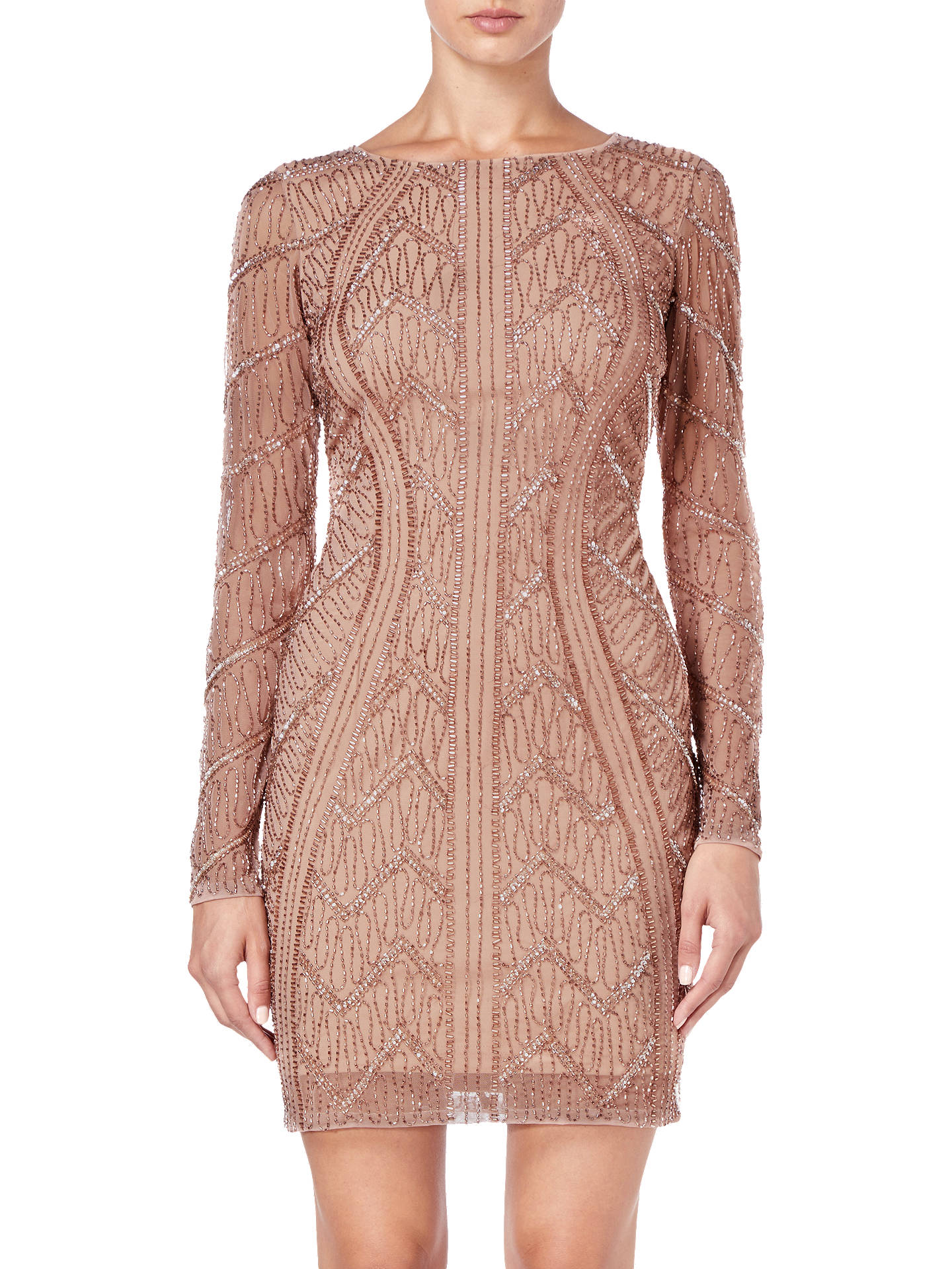 59ca2509 Buy Adrianna Papell Beaded Short Dress, Rose Gold, 16 Online at  johnlewis.com ...
