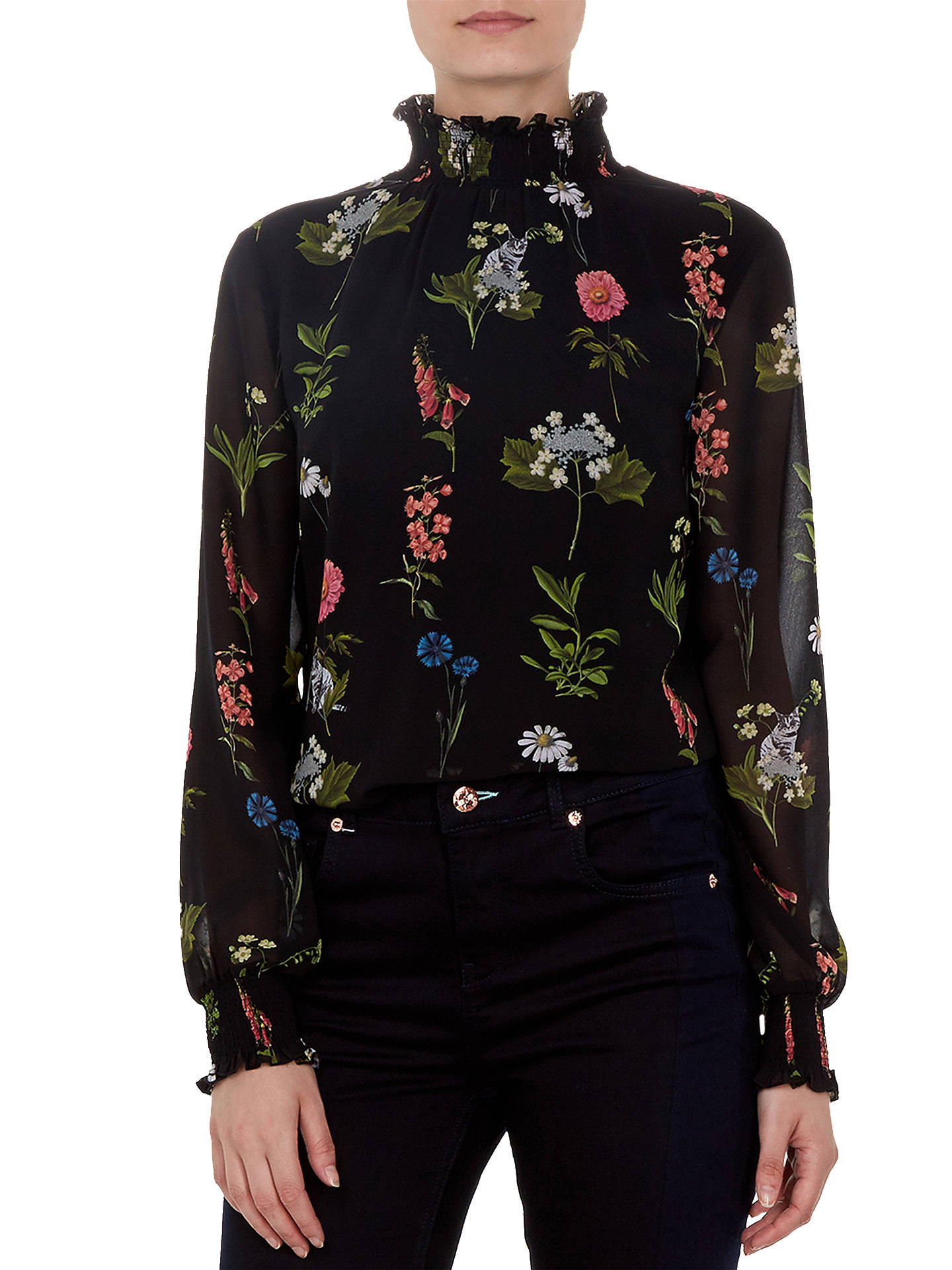 BuyTed Baker Taalia Florence Sheared Blouse, Black, 0 Online at johnlewis.com