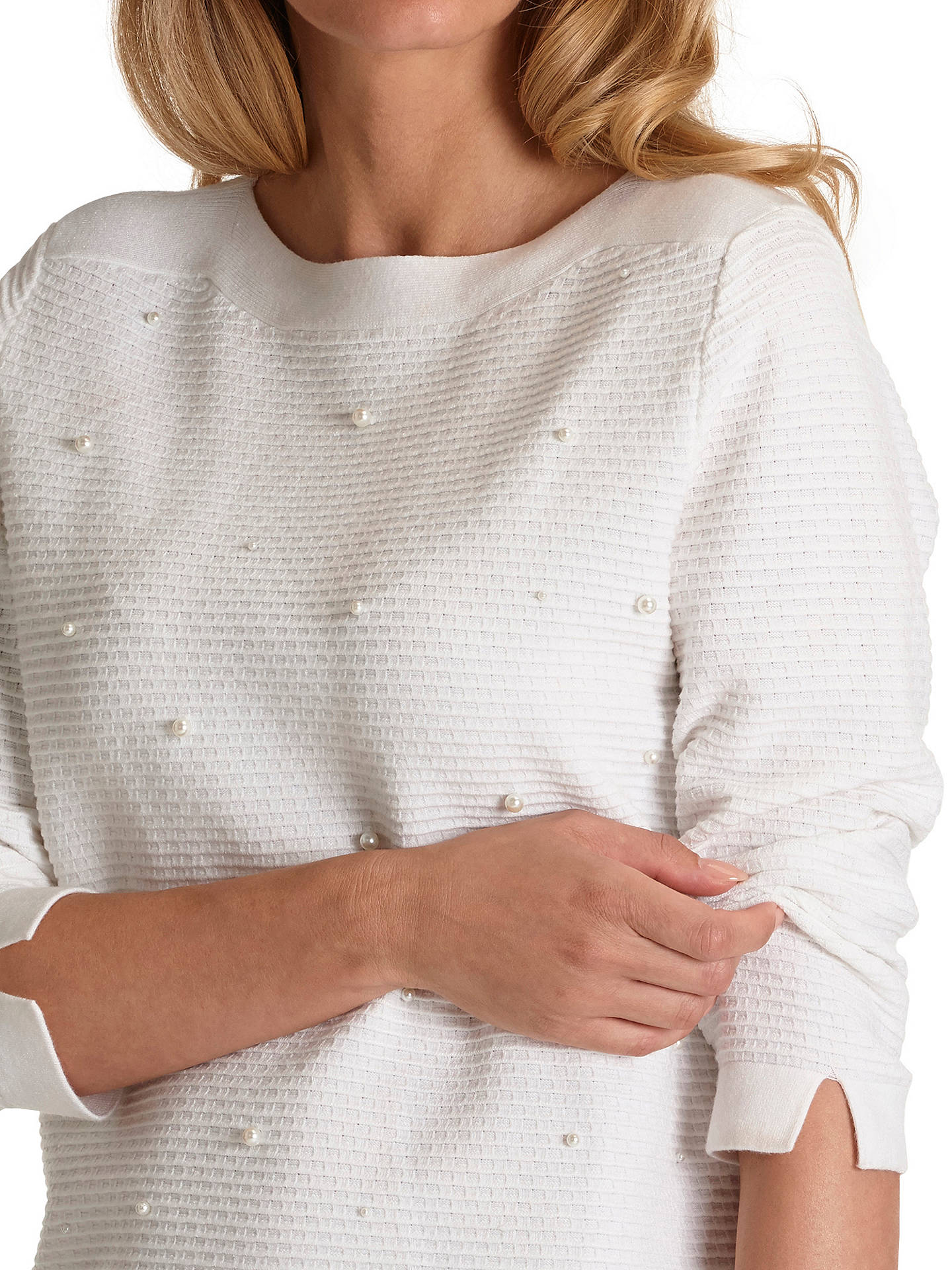 Buy Betty Barclay Pearl Embroidered Jumper, Snow White, 10 Online at johnlewis.com