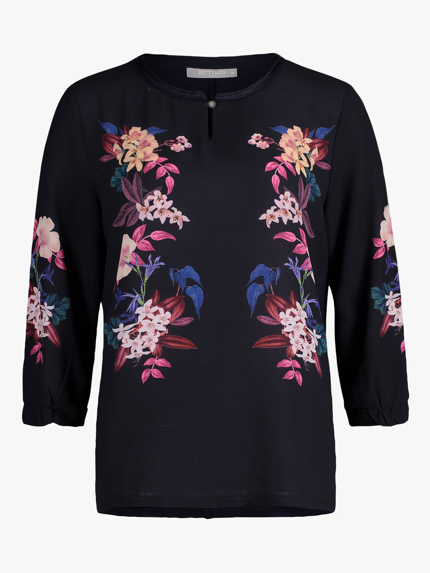 Buy Betty Barclay Floral Print Top, Blue Shades, 10 Online at johnlewis.com