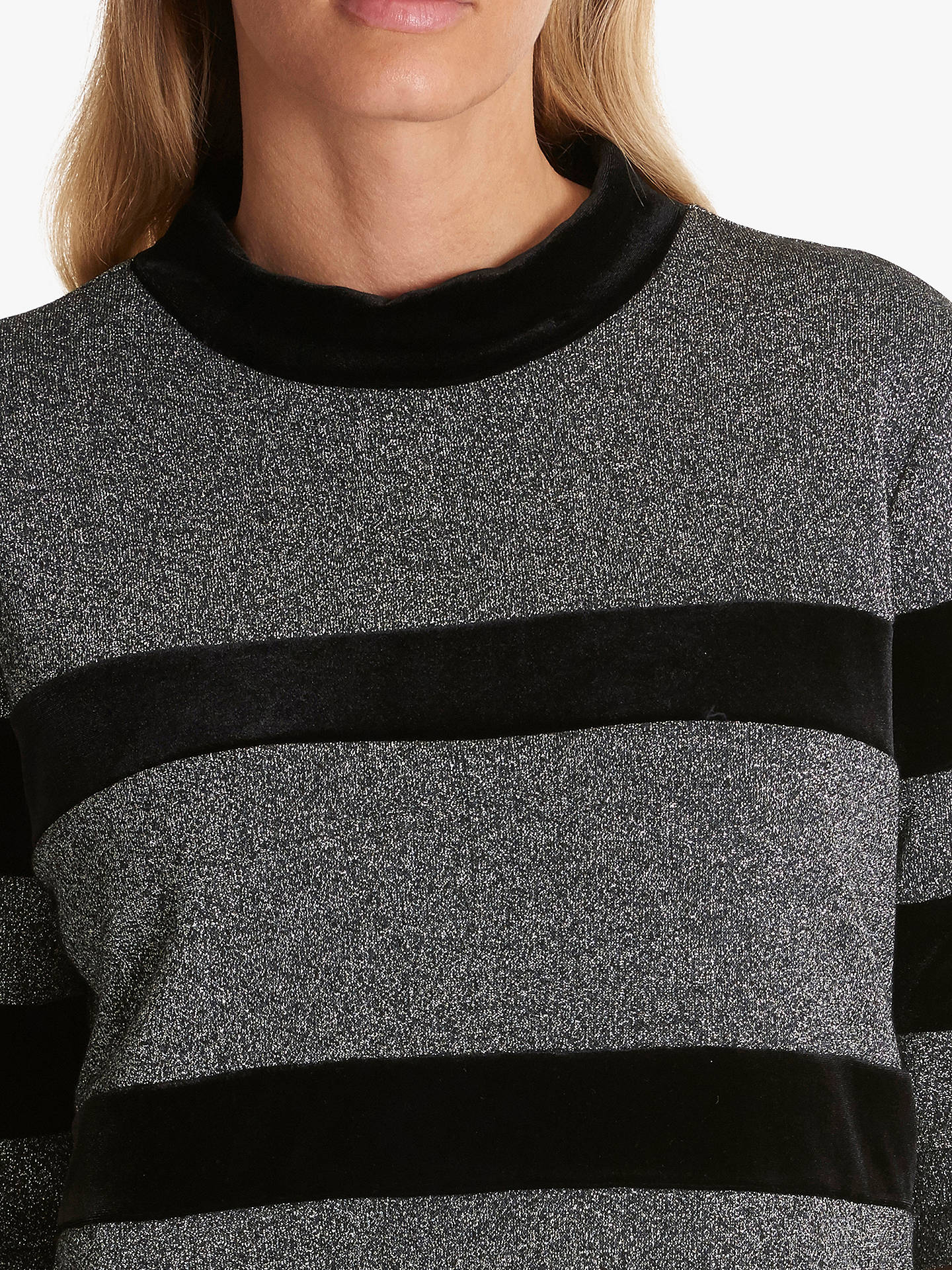 BuyBetty Barclay Metallic Large Stripe Top, Silver/Black, 10 Online at johnlewis.com