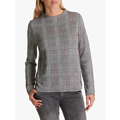 Betty Barclay Check Long Sleeve Top, Black/White