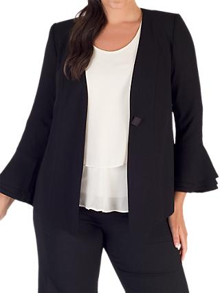 Chesca Flounce Cuff Jacket, Black