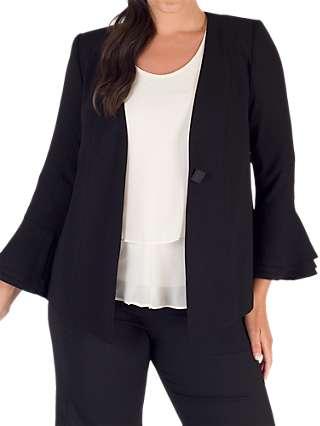 Chesca Flounce Cuff Jacket, Black