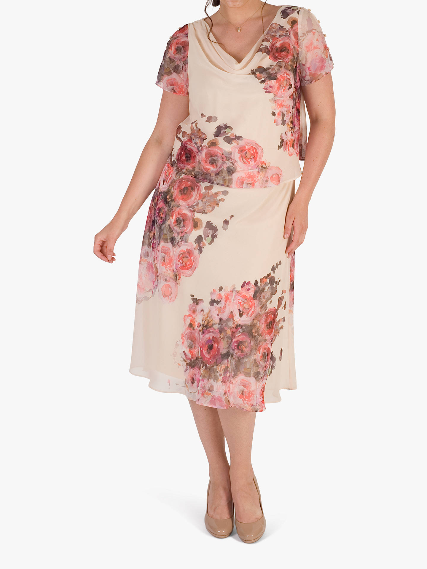 e1323fdcadff Buy Chesca Floral Print Layered Chiffon Dress, Orange/Multi, 14 Online at  johnlewis ...