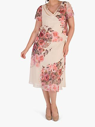 Chesca Floral Print Layered Chiffon Dress, Orange/Multi