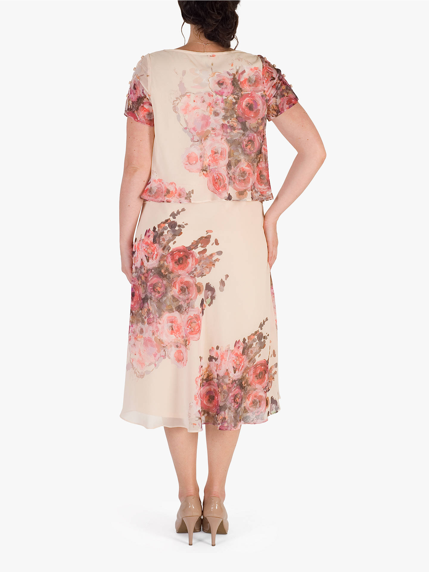 BuyChesca Floral Print Layered Chiffon Dress, Orange/Multi, 14 Online at johnlewis.com