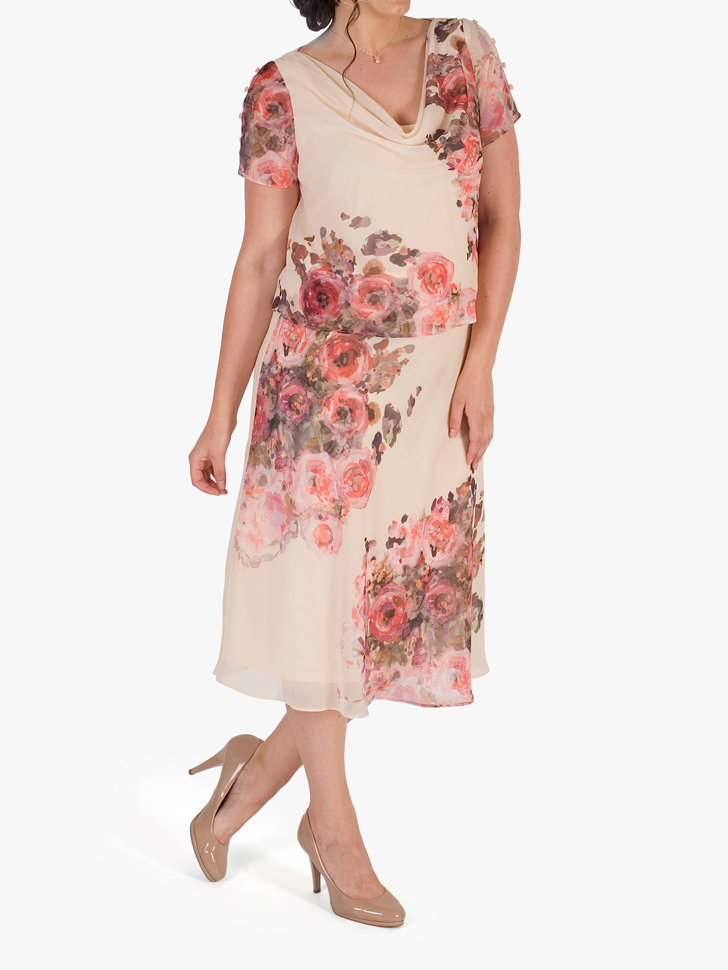 c280e676fae0 ... Buy Chesca Floral Print Layered Chiffon Dress, Orange/Multi, 14 Online  at johnlewis ...