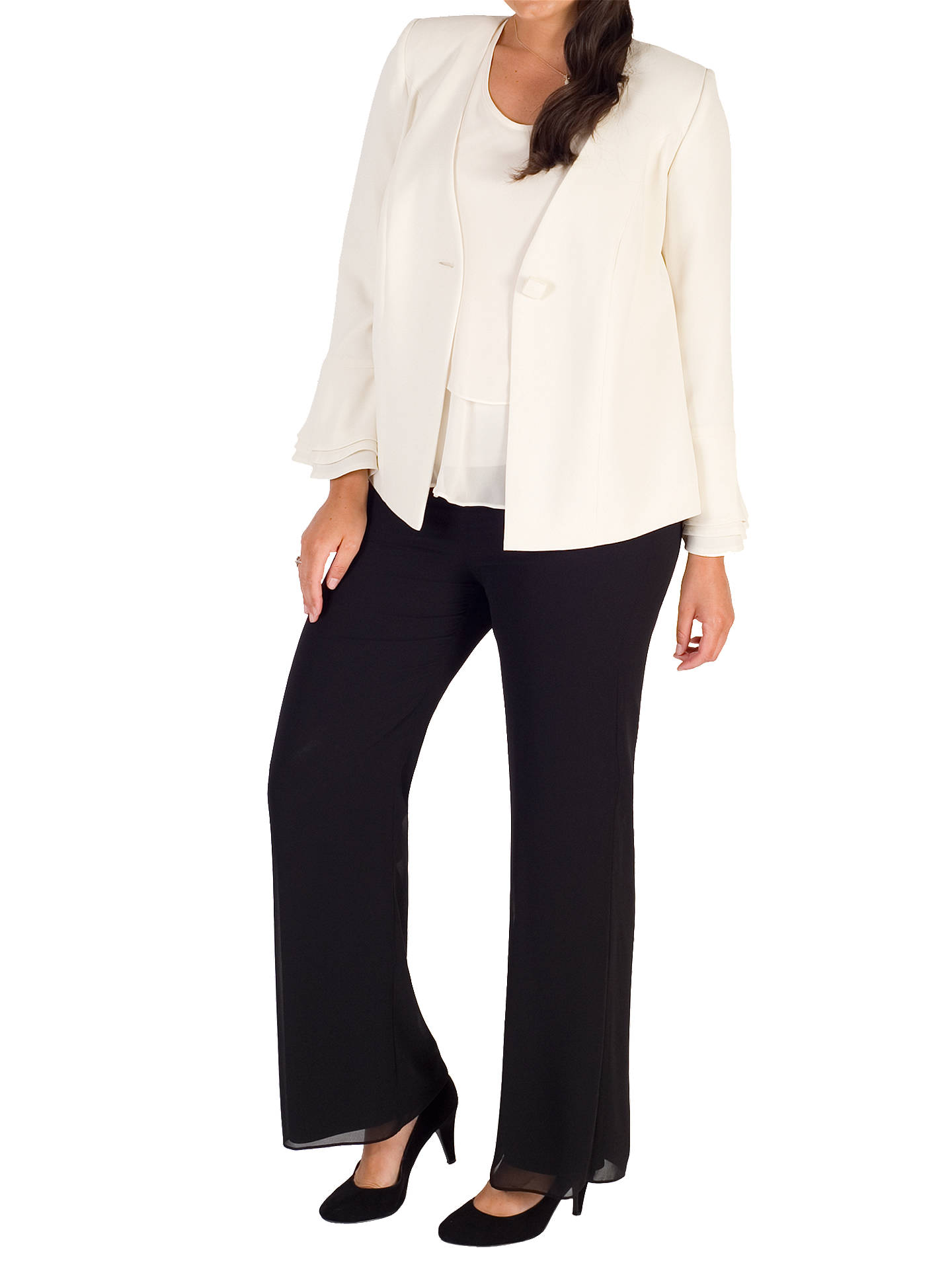 Buy Chesca Flounce Cuff Jacket, White, 14 Online at johnlewis.com