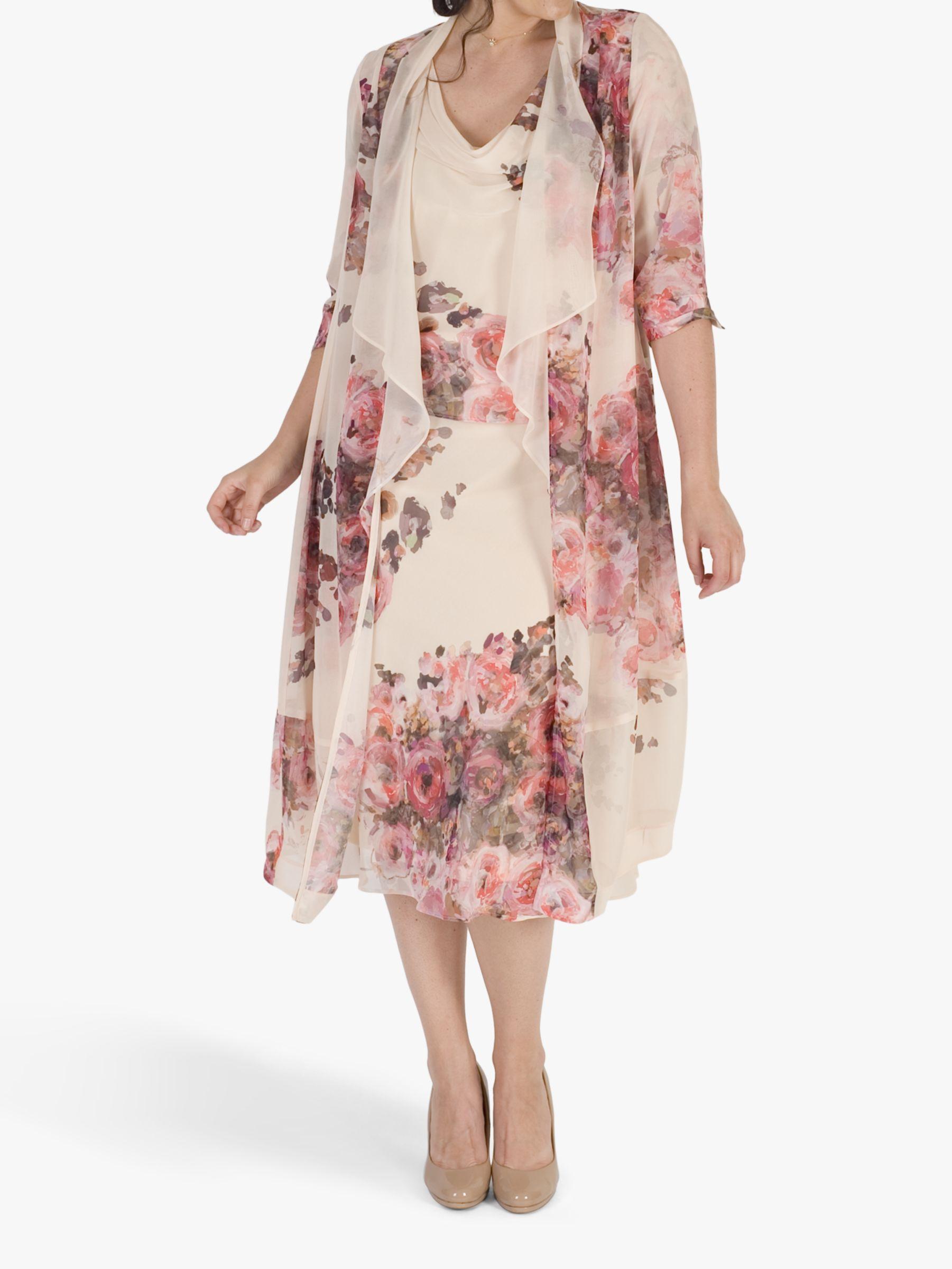 Chesca Chesca Floral Print Chiffon Coat, Apricot