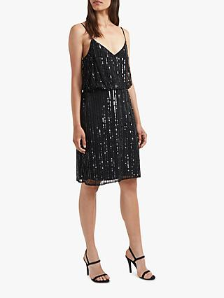 French Connection Aster Embroidered Sequin Detail Dress, Black