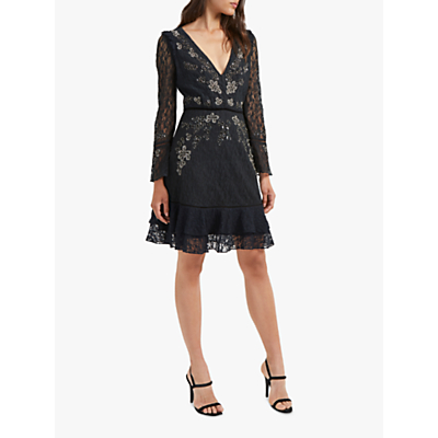 French Connection Bella Lace Embroidered Shift Dress, Black